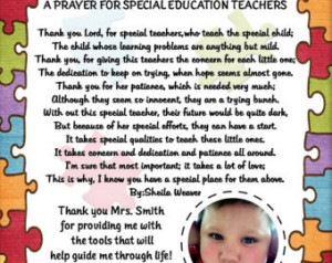 Special Needs T eacher / Therapist Thank You / Appreciation Photo Poem ...