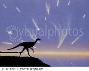 Meteor shower preceding dinosaur extinction art