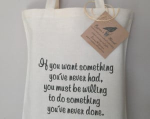 Quote Tote Bag Embroidery on eco fr iendly cotton canvas tote bag you ...
