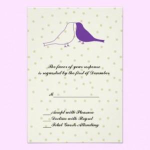 Purple Love Bird Wedding Rsvp Card Invitations