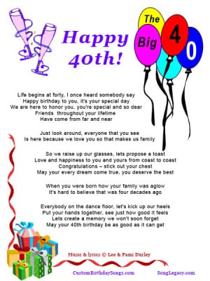 Lyric Sheet for original 40th birthday song by Lee Durley, page 1
