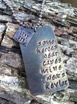 ... quote necklace dog tag necklace police officer wife necklace miltary