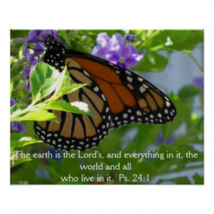 Monarch Butterfly on Flowers w/ Bible Verse Poster Print