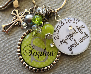 Images Bible Verse Personalized Name Polka Dot Keychain Cross Charm