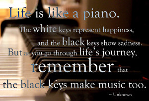 Quotes : Life is like a piano: the white keys represent happiness, the ...