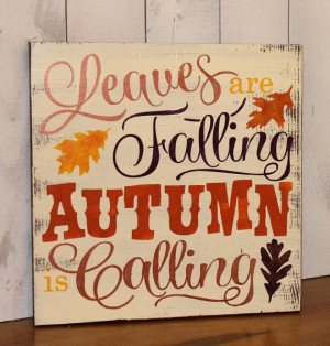 FALL Sign/Leaves are Falling Autumn is Calling/Subway Style/Autumn ...