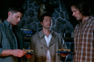 Dean, Castiel and Sam in Survival of the Fittest.