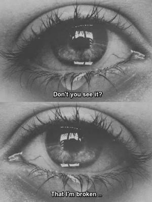 Black and White depressed sad eyes broken crying