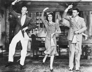 ... Fred Astaire, Gracie Allen, and George Burns in a dance from 'Damsel