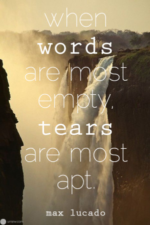 When words are most empty, tears are most apt.