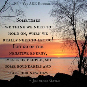 Let go of negative energy