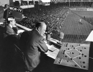 Frank Germanoon the field, and Red Barber in the booth