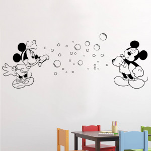 ... mouse quotes Mickey and Minnie Blowing Bubbles Wall Stickers Decals