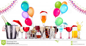 Alcohol drinks set with lot of air balloons - beer, wine, champagne ...