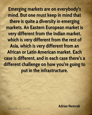 Emerging markets are on everybody's mind. But one must keep in mind ...
