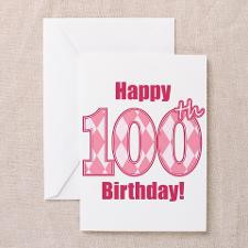 Happy 100th Birthday - Pink Argyle Greeting Cards for