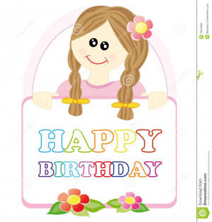 Colourful cartoon sketch with cute girl holding happy birthday sign.