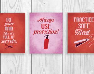 Salon Art Print Series, THREE 8 x 10 Art Prints, Funny Hair Quotes ...