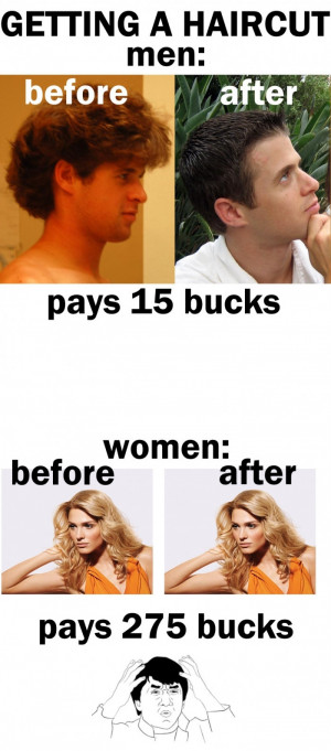 ... men vs women getting a hair cut funny quotes jokes and | Source Link
