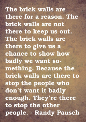 ... Books, Brick Walls, Favorite Quotes, Randy Pausch Quotes, Good Advice