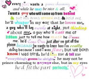 Every Girl Wants a Prince Charming ~ Dreaming Quote