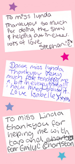 Thank you messages from students who took part in