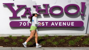 woman jogs in front of Yahoo! headquarters in Sunnyvale, California ...