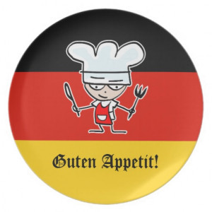German dinner plate gift with funny cartoon chef