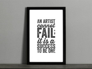 An Artist Cannot Fail Quote Poster - Success Quote - Distressed ...