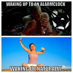 Funny Pictures - Waking up to an alarmclock VS Waking up naturally