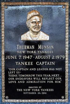 Thurman Munson's Plaque In Monument Park At Yankee Stadium