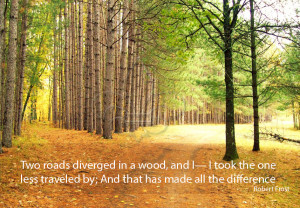 Two roads diverged in a wood, and I— I took the one less traveled by ...