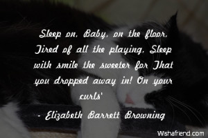 sleep-Sleep on, Baby, on the floor, Tired of all the playing, Sleep ...