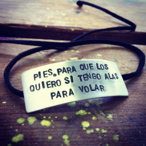 Frida Kahlo Quote Sterling & Suede Bracelet -