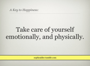 taking care of yourself...