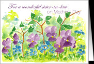 Happy Mother's Day sister-in-law Watercolor Violets card - Product ...