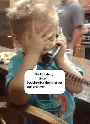Funny Child Grandma Internet Explorer Computer Support Joke