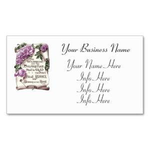 Bible Quote And Pink Roses Business Cards