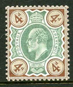 1902 4d GREEN & GREY BROWN (O) KEVII DE LA RUE M/MINT. SG 235 | eBay