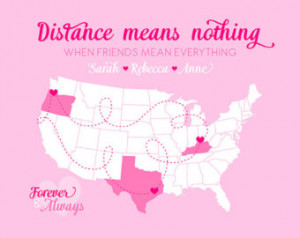 Quote, Moving Gift for Friends, Long Distance BFF Map Friends ...