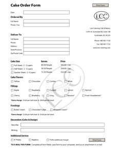 cake order contract | Cake Order Form Template - PDF More