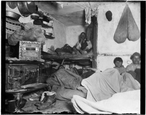 Lodgers in a crowded Bayard Street tenement, 1889. (Jacob A. Riis ...
