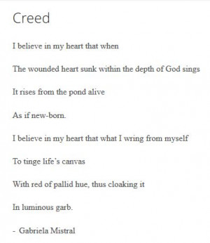 Creed by Gabriela Mistral