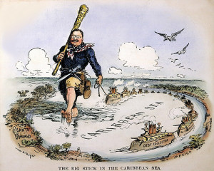 Cartoon of Teddy dominating the Caribbean with US warships and big ...