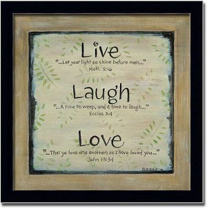 Live Laugh Love Bible Verse Gift Sign Art Print Framed