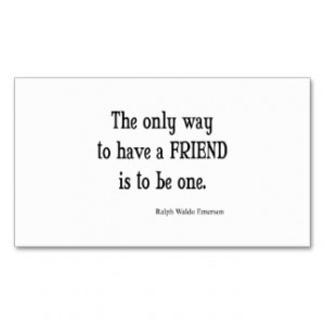 Vintage Emerson Inspirational Friendship Quote Business Cards