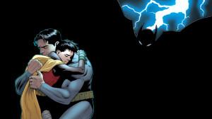 Batman Robin Hug Embrace Lightning Black DC-comics wallpaper ...