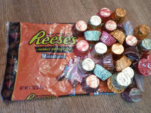 Ingredients: Reese's Peanut Butter Cups and the usual cookie ...