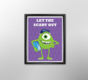 Monsters University Mike Wazowski Pixar Film Poster, Illustrated Quote ...