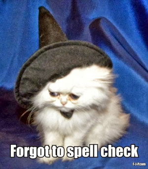 Funny Halloween Cat Witch Spell Check Fail Joke Caption Meme Photo